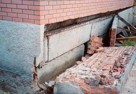 Разрушение фундамента: причины и признаки